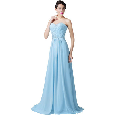 Grace Karin Light Blue Sleeveless Sweetheart Ruched Bodice Lace-up Back Evening Prom Bridesmaid Dress With Sequins and Beadings