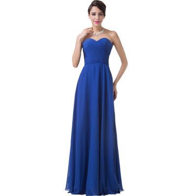 Grace Karin Sweetheart Ruched Bodice Chiffon Full-Length Evening Prom Dress_Blue