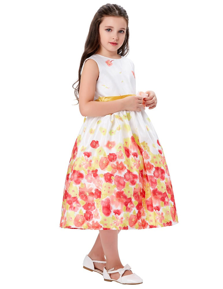 Sleeveless Round Neck Floral Print  Ankle-Length Flower Girl Dress