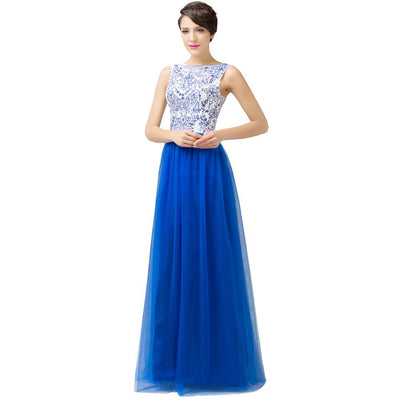 Grace Karin Crew Neck Sleeveless Bridesmaid A-Line Princess Wedding Party Celebrity Dress_Blue