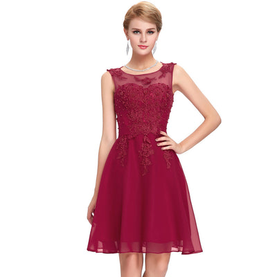 Grace Karin Women's Sleeveless Crew Neck V-Back Above-Knee Chiffon Bridesmaid Ball Evening Prom Party Dress _Dark Red