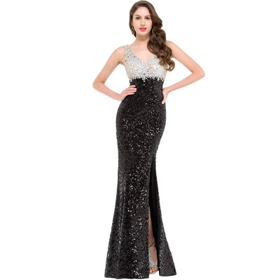 Grace Karin Fantastic Women's Black Sleeveless V-Neck Sequined High-Split Floor-Length Ball Gown Evening Prom Party Dress
