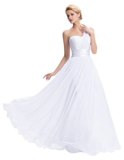 Grace Karin Full-Length Lace Up une épaule volants demoiselle d'honneur Wedding Party Evening Dress_White