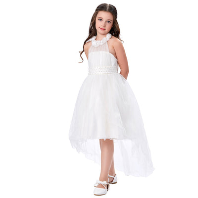Grace Karin High-Low Halter Princess Flower Girl Dress With Flowers And Beads_White