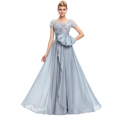 Grace Karin Classic Gray Short Sleeve Square Neck V-Back Full-Length Chiffon Lace Ball Gown Mother Of Brides Dress With Zipper