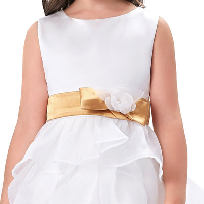 White Sleeveless Round Neck Multi Layers Flower Girl Dress