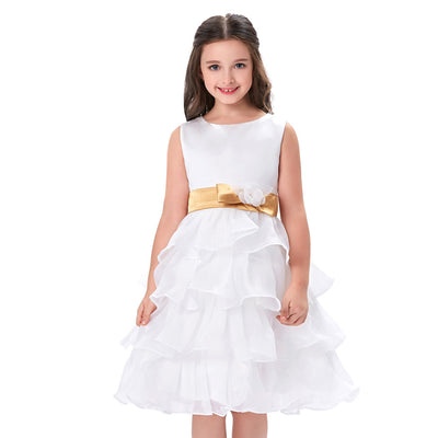 Grace Karin Adorable White Ball Gown Knee Length Sleeveless Round Neck  Satin Organza Layers Flower Girl Dress