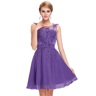 Grace Karin Women's Sleeveless Crew Neck V-Back Above-Knee Chiffon Bridesmaid Ball Evening Prom Party Dress _Royal Purple