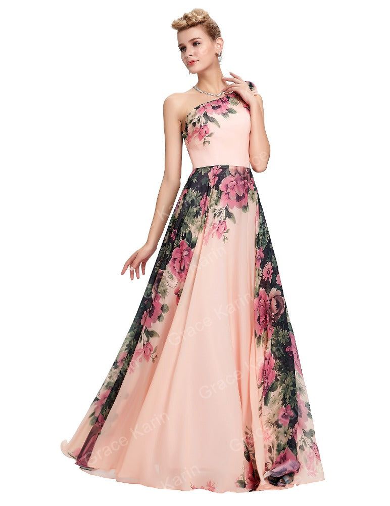 20e7d8fec4 GRACE KARIN One Shoulder Flower Pattern Long Chiffon Bridesmaid Dress