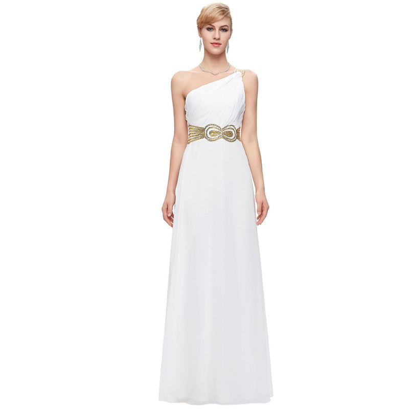 GRACE KARIN White One Shoulder Floor-Length Chiffon Evening Prom Dress