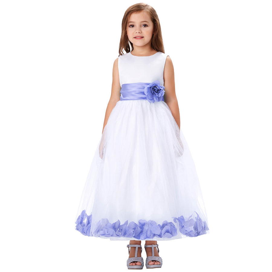 Grace Karin Floor-Length Flower Girl Dress With Flower Waist / Bow-Knot_Purple