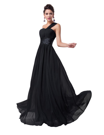 Grace Karin Full-Length Lace Up One Shoulder Ruffles Bridesmaid Wedding Party Evening Dress_Black