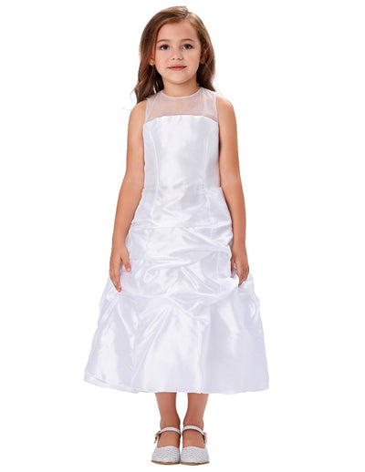 Pleated Flower Girl Dress With See-Through Yarns Around Neck