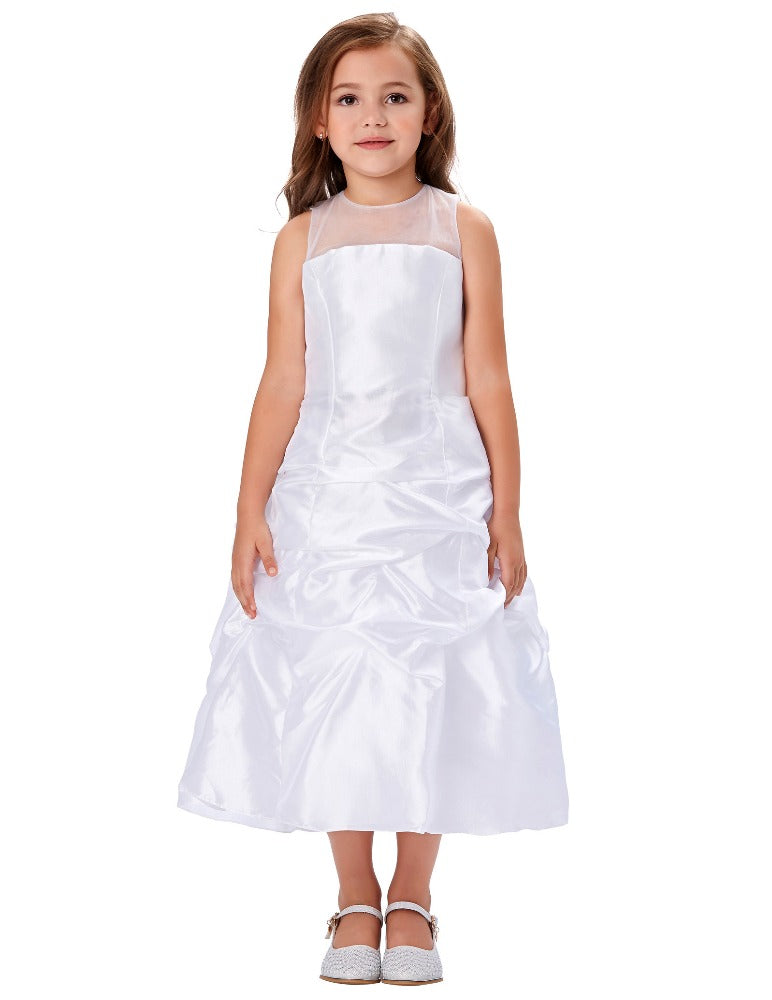 Grace Karin Tea Length Ball Gown Pleated Sleeveless Flower Girl Dress With See-Through Yarns Around Neck