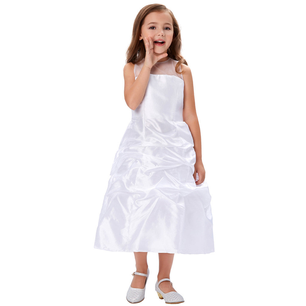GRACE KARIN Pleated Flower Girl Dress With See-Through Yarns Around Neck