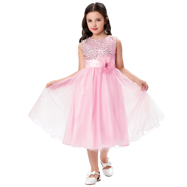 Grace Karin A Line Tea Length Sleeveless Round Neck Flower Girl Dress With Sequins / Flower Waist_Pink