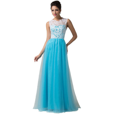 Grace Karin Glamorous Sky Blue Soft Tulle Lace Crochet Sleeveless Bridesmaid Ball Gown Full Length Evening Prom Dress