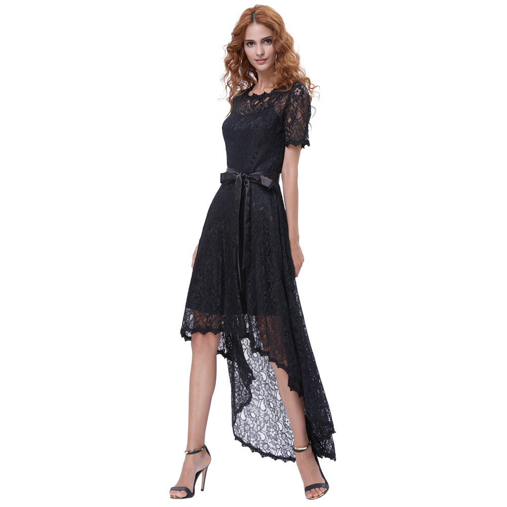 Grace Karin Women's Short Sleeve Round Neck High-Low Black Lace Evening Prom Dress