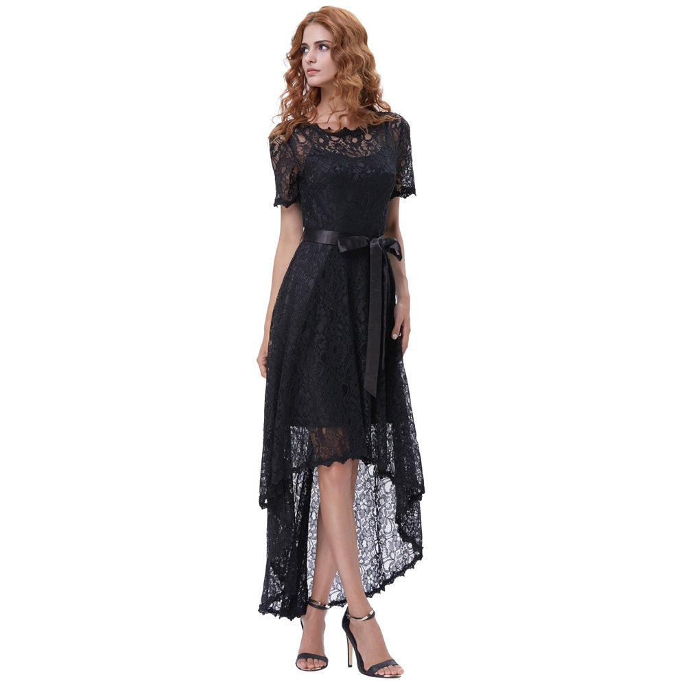 Black Lace Evening Prom Dress Short Sleeve Round Neck High Low