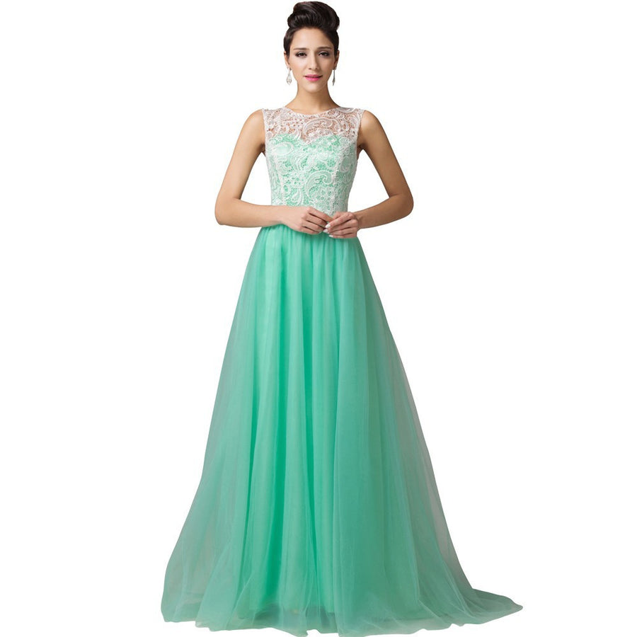 Grace Karin Elegant Sleeveless Soft Tulle Lace Floor-Length Princess  Bridesmaid Evening Prom Party Dress ... cd5f4a78298d