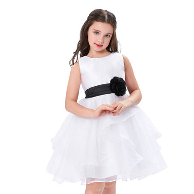 Grace Karin White Ball Gown Knee Length Sleeveless Round Neck Flower Voile Girl Dress With Black Sash & Flower