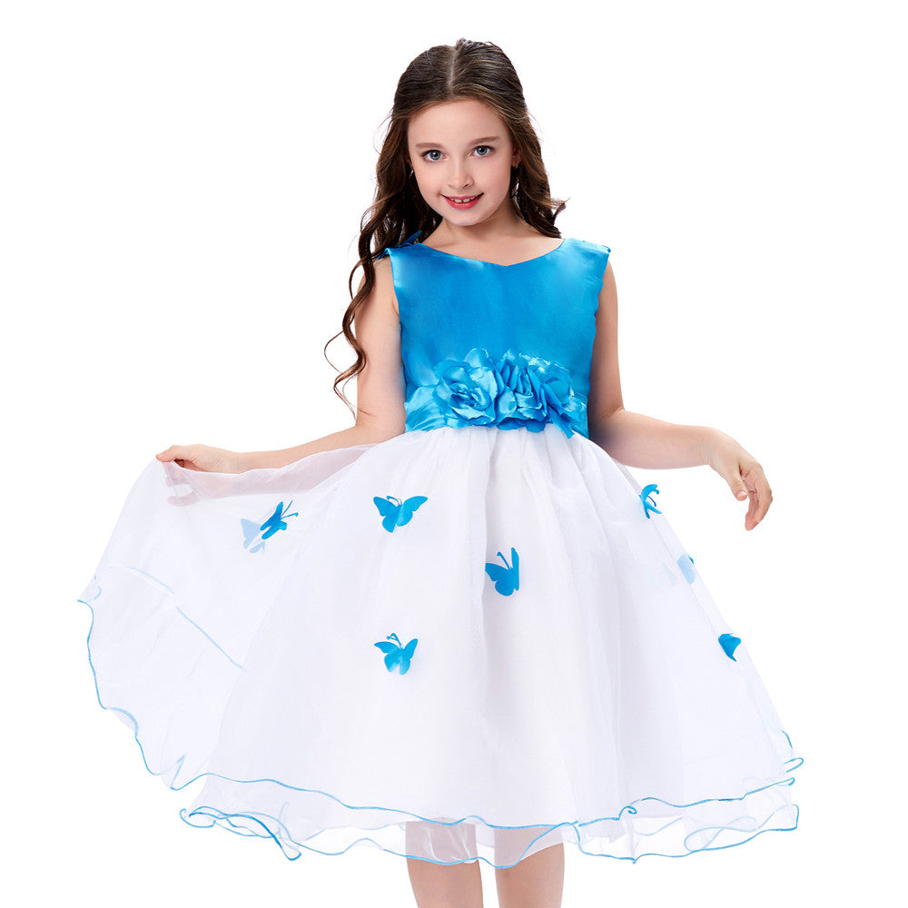 Grace Karin Blue And White Sleeveless Tea Length Flower Girl Dress