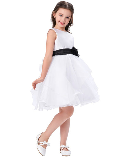 White Ball Gown Flower Girl Dress With Black Sash & Flower