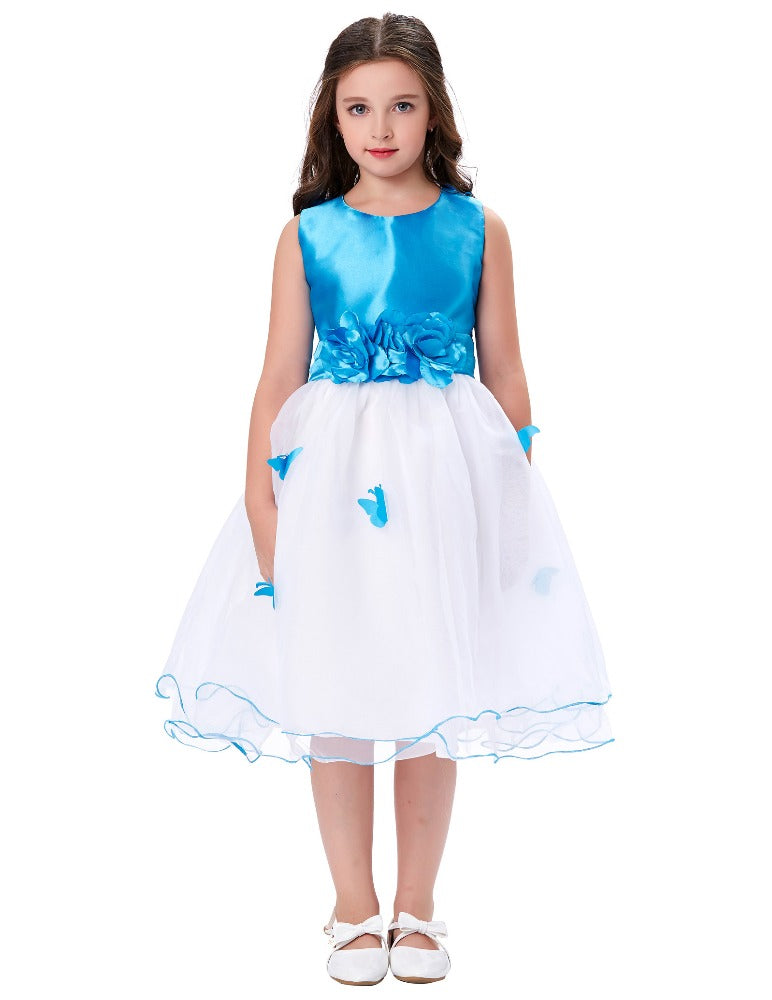 Grace Karin Blue and White Tea Length A Line Sleeveless Round Neck Flower Girl Dress With Fixed Blue Sash