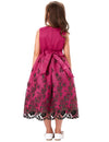 Dark Pink Multi Layers Flower Girls Dress With Bow Knot Waistband