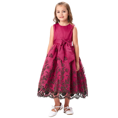 Grace Karin Dark Pink Tea Length A Line Sleeveless Multi Layers Flower Girl Dress With Bow Knot Waistband