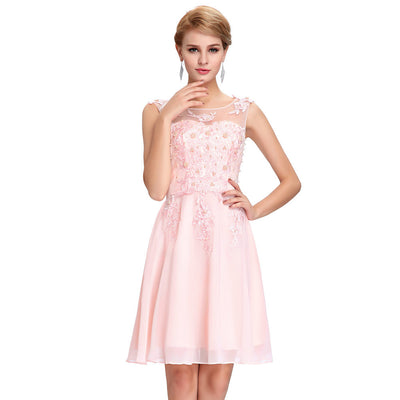 Grace Karin Women's Sleeveless Crew Neck V-Back Above-Knee Chiffon Bridesmaid Ball Evening Prom Party Dress _Light Pink