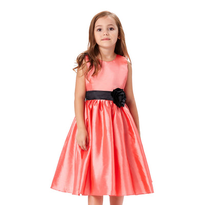 Grace Karin Tea Length A Line Sleeveless Round Neck Flower Girl Dress With Bow-Knot / Fixed Black Sash