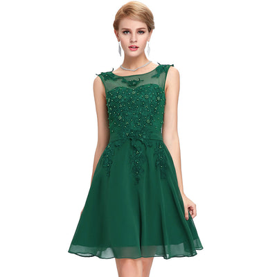 Grace Karin Women's Sleeveless Crew Neck V-Back Above-Knee Chiffon Bridesmaid Ball Evening Prom Party Dress _Green