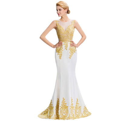 Grace Karin Women's White Sleeveless Elegant Golden Appliqued Ball Gown Evening Dress