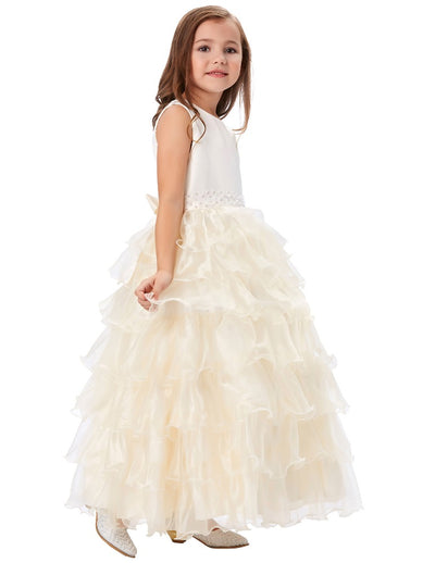 Champagne and White Beaded Princess Multi Layers Flower Girl Dress