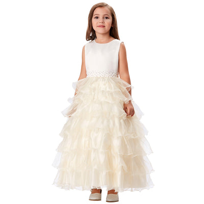 Grace Karin Princess A Line Round Neck Sleeveless Multi Layers Flower Girl Dress With Beading_Champagne