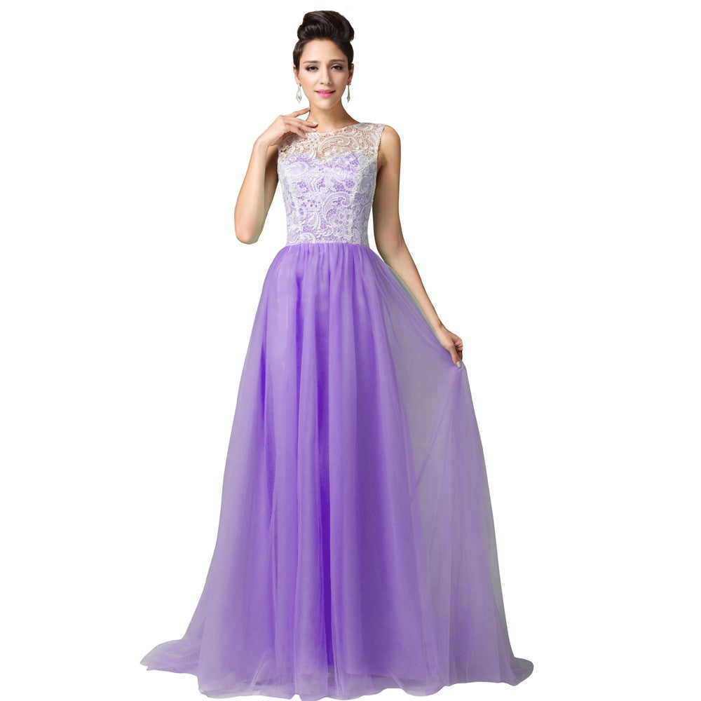 aa65a78e481 Grace Karin Elegant Sleeveless Soft Tulle Lace Floor-Length Princess  Bridesmaid Evening Prom Party Dress