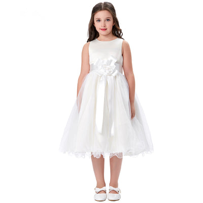 Grace Karin Tea Length Round Neck Multi Layers Flower Girl Dress With Fixed Flower / Waistband / Sleeveless_White