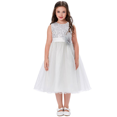 Grace Karin A Line Tea Length Sleeveless Round Neck Flower Girl Dress With Sequins / Flower Waist_Light Grey