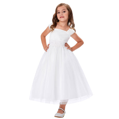 Grace Karin White Ankle-Length Sleeveless Square Neck Lace Tulle Netting Flower Girl Dress With Fixed Belt