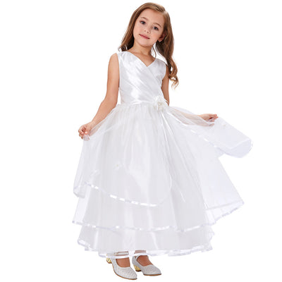 Grace Karin A Line Princess Floor Length V-Neck Sleeveless Pleated Bodice Tulle Flower Girl Dress With Flower_White