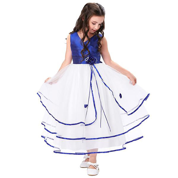 Pretty Pleated Bodice Tulle Netting Floor Length Flower Girl Dress - PRESALE