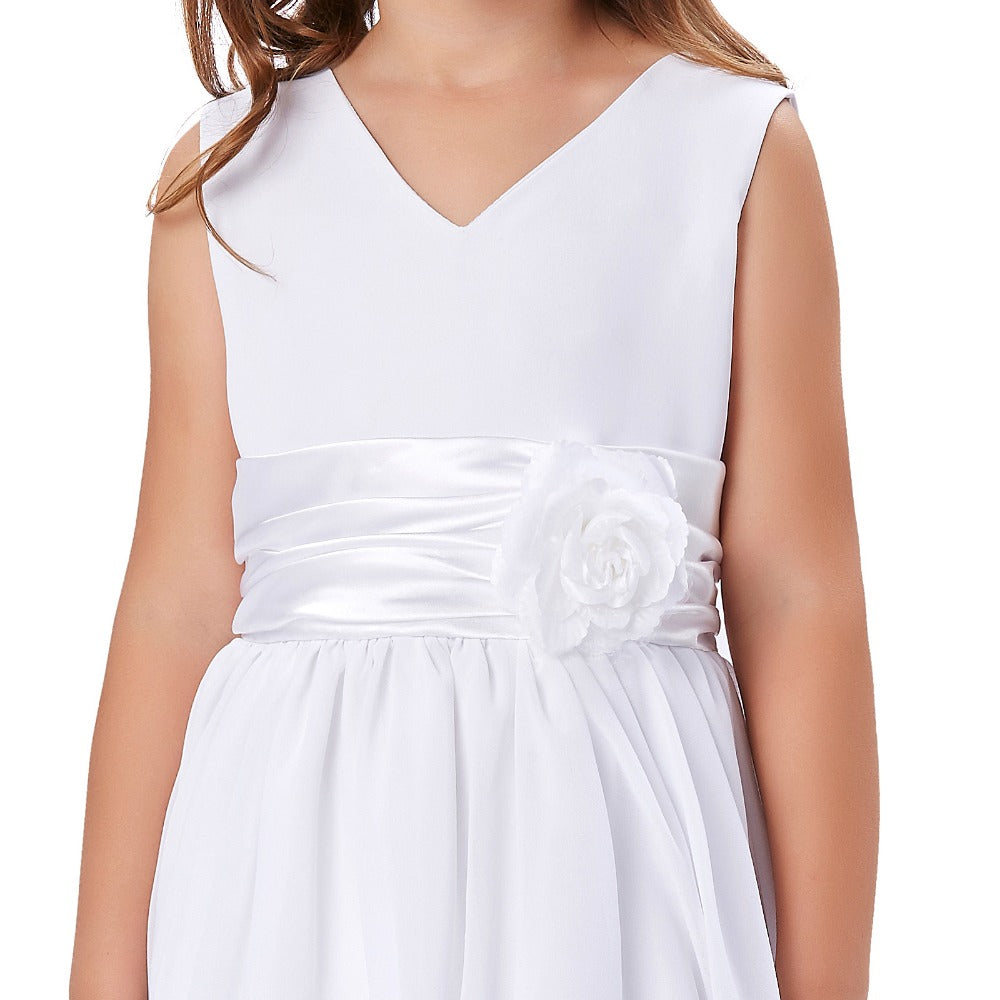 Grace Karin Double V Sleeveless Pleated Flower Girl Dress With Flower