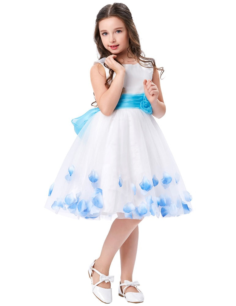 Beautiful White Sleeveless Round Neck Long Flower Girl's Dress