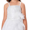 Sleeveless Spaghetti Straps Multi Layers Flower Girl Dress