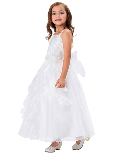 Grace Karin White Sleeveless Spaghetti Straps Multi Layers Flower Girl Dress With Beading and Flower