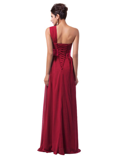 One Shoulder Empire Waist Ruffles Bridesmaid Evening Dress