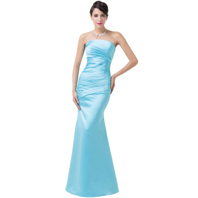Grace Karin Floor Length Ruched Bodice Strapless & Pleated Satin Evening Prom Party Dress_Sky Blue