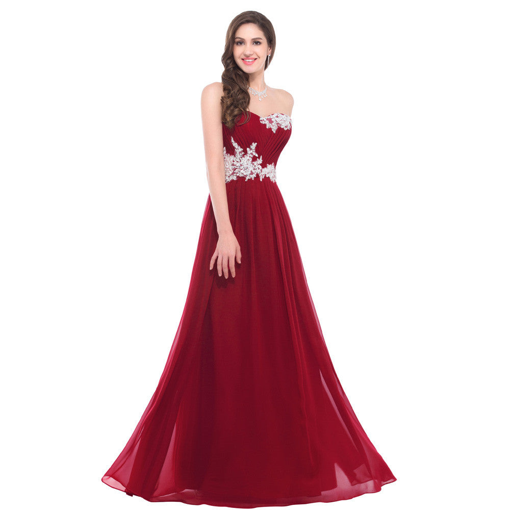 red a line sweetheart chiffon floor length