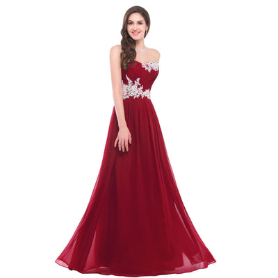 Grace Karin Women's Dark Red Strapless Sweetheart Chiffon Long Evening Dress